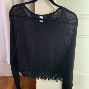 Mesh top with lace trim